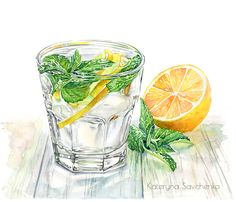Lemonade watercolor illustration by Kateryna Savchenko