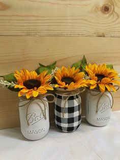 Sunflowers in Hand-painted Jars/Artificial Flower | Etsy
