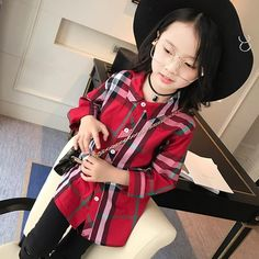 New Arrival 2017 girls long sleeve blouse Spring and Autumn Children's Bottoming shirt big girls plaid shirt factory outlet
