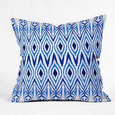 Amy Sia Ikat Blue Throw Pillow