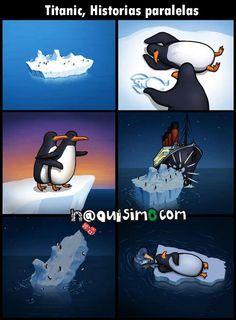 Imagen chistosa de pingüinos titanic