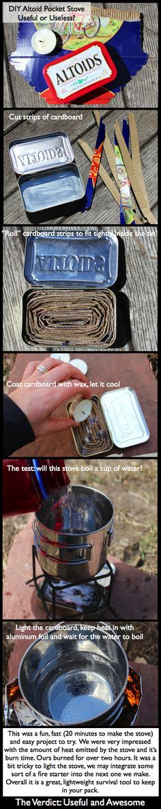 DIY Altoid Pocket Stove - You can use your little survival thin to keep dry whatever