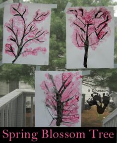 Baby oil. Let it dry. Brushes and stampers. Spring Blossom Tree Painting - 3Dinosaurs.com