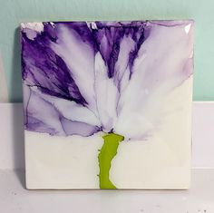 Set of four floral coasters. Alcohol inks on ceramic tiles. Suzanne 3/18
