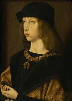 Duke Philip 'The Fair' of Burgundy (1478–1506), as a Boy by Jacob van Laethem (attributed to) National Trust Date painted: c.1495.   1st Habsburg to be King of Castile. Son of Holy Roman Emperor Maximilian I. He inherited the greater part of the Duchy of Burgundy and the Burgundian Netherlands from his mother, Mary,  briefly succeeded to  Crown of Castile as the husband of Queen Joanna, who was also heiress-presumptive to the Crown of Aragon.