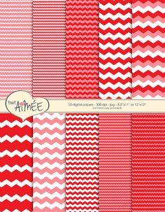 Chevron Stripes Large & Small in Red White and Pink