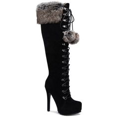 ShoeDazzle Boots - Knee Length Priscilla Faux-Fur Pom Pom Boot Womens... ❤ liked on Polyvore featuring shoes, boots, black, boots - knee length, kohl boots, knee-high boots, cuffed boots, knee-length boots and black cuff boots