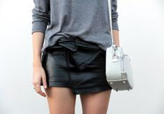 Wrapped leather skirt.