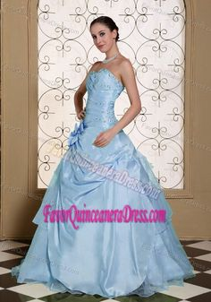 2013 Light Blue Organza and Taffeta Dresses for Quinceaneras with Flower