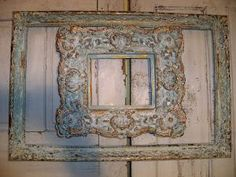 Framed grouping hand painted distressed aqua by AnitaSperoDesign