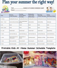 At Home summer schedule for kids