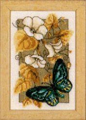 Butterfly on Flowers II - Cross Stitch Kit