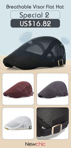 49%off Men Summer Mesh Beret Cap Breathable Visor Flat Hat Adjustable Solid e4df18a80232