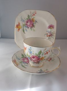 Tuscan bone china, Tuscan china trio, cup, saucer, plate, floral pattern, traditional china, tea party set, English fine china by MaddisonsRainbow on Etsy