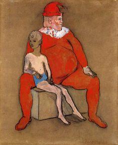"amare-habeo: ""Pablo Picasso Clown and Young Acrobat (Bouffon et Jeune Acrobat), 1905 goache and pastel on laid paper "" Kunst Picasso, Picasso Art, Picasso Paintings, Picasso Rose Period, Picasso Blue, Cubist Movement, Spanish Painters, Gouache, Post Impressionism"