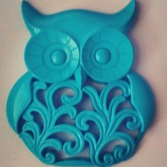 Turquoise owl wall decor add the perfect pop by SurfandSunBoutique