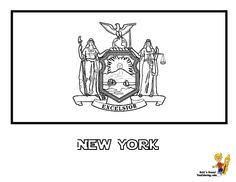 New York State Flag Coloring Page SEE The Official Photograph To Match Colors You Can Printout This Coloringpage Now