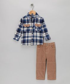 Take a look at this Blue Flannel Button-Up & Pants - Infant & Toddler on zulily today!