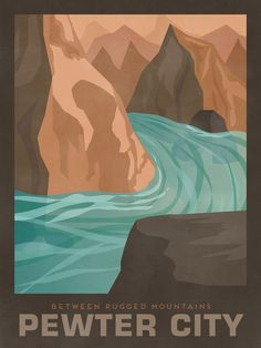 "Pokemon Travel Poster - Pewter City ""A quiet city nestled between rugged mountains and rocks"""