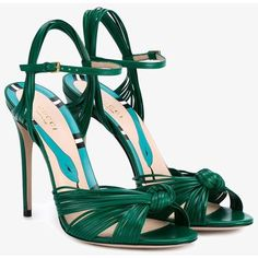 Gucci Gucci Strappy Sandals ($660) ❤ liked on Polyvore featuring shoes, sandals, heels, strappy sandals, green strappy sandals, strap shoes, gucci sandals and heeled sandals
