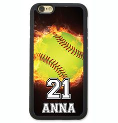 PERSONALIZED NUMBER NAME SOFTBALL PHONE CASE COVER FOR IPHONE 6 6S PLUS SE 5S 5C…