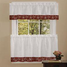 Oakwood Burgundy 58 x 36-Inch Window Tier Pair