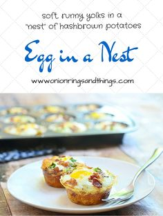 Egg in a Nest are eggs baked in shredded potato nests and topped with bacon, cheese and green onions via @lalainespins