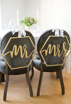 Hexagon Wedding Chair Signs Geometric Style for by ZCreateDesign