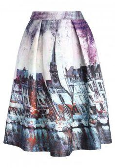 Elusive Riverside Print Pleated Midi Skirt - Bottoms - Retro, Indie and Unique Fashion