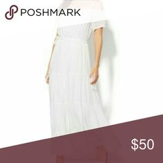 BNWT🎀HOST PICK🎀Pretty Off Shoulder  Maxi Dress BNWT Gorgeous RARE White Off Shoulder cap sleeve Boho Maxi Dress for a delicate beauty. Highest quality bought as an On-line Exclusive from New York & Company. Too small for me & hated to sell its so pretty. ADJUSTABLE spagetti straps. 60% Rayon/40% poly. Fully lined. New York & Company Dresses Maxi