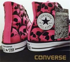 42d6aada741e Neon Pink Skull Converse All Star High Top - Unique hand inked Skull Shoes  by RokGear