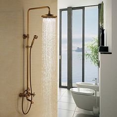 Antique Brass Tub Shower Faucet with 8 inch Shower Head + Hand Shower – USD $ 159.11