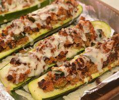 Zucchini boats stuffed with bacon, breadcrumbs, & cheese!