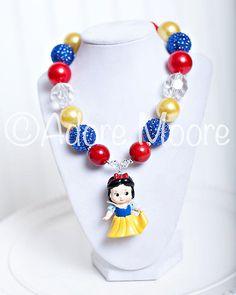 Snow White Necklace, Disney Kids Necklace, Chunky Necklace, Chunky Bead Necklace, Child Girls Necklace on Etsy, $22.00 Chunky Bead Necklaces, Chunky Jewelry, Chunky Beads, Beaded Jewelry, Handmade Jewelry, Beaded Necklace, Toddler Jewelry, Kids Jewelry, Jewelry Crafts