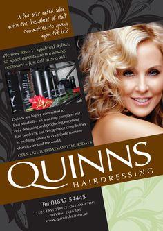 Leaflet design for Quinns Hairdressing in Okehampton #leafletdesign #branding #design #graphicdesign #followthezebra
