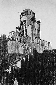 tecla 9 - A. Sant'Elia, progetto di mausoleo, 1912, veduta prospettica (da L. Angelini, L'architetto Antonio Sant'Elia, vol. XLV, n. 266, febbraio 1917, p. 155).