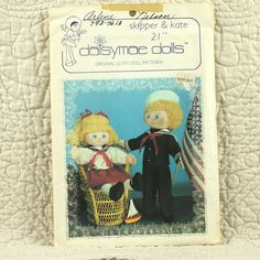 Cloth Doll Pattern, Daisymae Dolls, Skipper and Kate, DM255, 1982 Uncut, 21 Inch, 2-oz by DartingDogCrafts on Etsy
