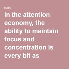 In the attention economy, the ability to maintain focus and concentration is every bit as important as technical or management skills.
