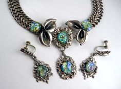 Exquisite Mexico Vintage Mexican Sterling Silver Art Glass Calla Lilly Necklace. $550.00, via Etsy. #teamlovegroup