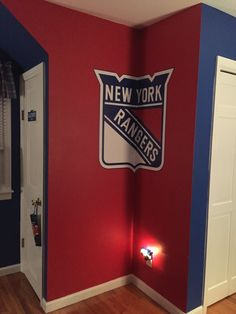 Bedroom Ideas New York my sons newly painted bedroom. new york rangers colors. | home
