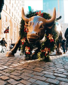 Wall St. bull at Christmas