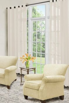 """2 Piece Grommet Top Sheer Panel Beige by wpm. $14.99. 2 Panels Size: 37""""Wx84""""L each  (total 74""""Wx84""""L). Beautiful beige. Washing Care: Machine Washable. 2 Piece SHEER Panel Curtain set with grommets. Material: Polyester. Design of this window set puts a natural spin on a traditional design. This set features 2 lovely Solid panel creating a pretty yet modern addition for your Home decor. Curtain can also be used for Livingroom windows, bedroom windows or other win..."""
