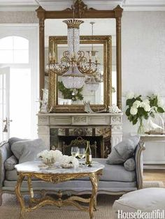 Love the coffee table, mirror, chandelier, settee/chaise! Beautiful greige decor in Paris | Rococo Bea Emporium ᘡղbᘠ
