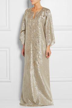 Oscar de la Renta|Embellished silk-blend lamé kaftan|NET-A-PORTER.COM