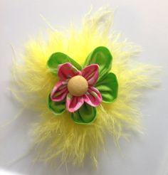 Unique OOAK Harajuku/Kawaii/Marabou Flower/Hair barrette/Japanese Kanzashi Flower/Hand Stitched/Fabric Flower/Marabou Flower Barrette by icusuezq on Etsy