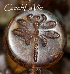 NEW Round Flat Dragonfly Bead Brown Rustic with by CzechLaVie, $4.30