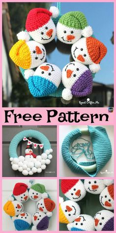 Crochet Cute Snowman - Free Pattern - Diy 4 Ever Crochet Christmas Wreath, Crochet Wreath, Crochet Christmas Decorations, Crochet Ornaments, Christmas Crochet Patterns, Holiday Crochet, Christmas Knitting, Christmas Crafts, Crochet Santa