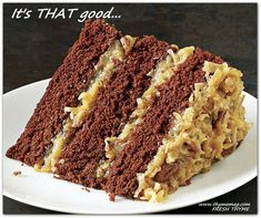 German Chocolate Cake - Recipe - FineCooking - - German Chocolate Cake isn't actually German. It's named for Samuel German, the creator of a chocolate bar for Baker's Chocolate Company that became the original cake recipe's star ingredient back…. German Cakes Recipes, Cake Recipes, Dessert Recipes, Food Cakes, Cupcake Cakes, Cupcakes, German Chocolate, Melting Chocolate, Chocolate Cakes