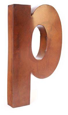 rustic metal letter \ P  $20.00
