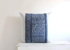 Vintage indigo batik Hmong cushion cover 20x by ImprintsandIndigo